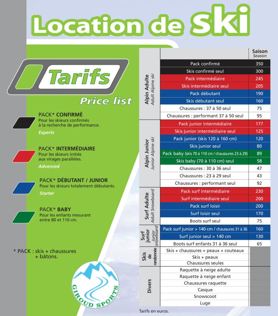 tarifs location de ski giroudsports